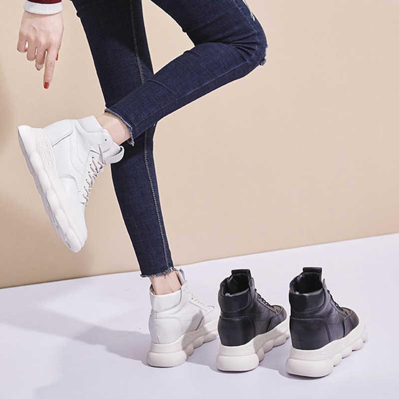 ผู้หญิงรองเท้าผ้าใบคุณภาพสูง 2019 ฤดูใบไม้ร่วงฤดูหนาวของแท้หนังสีขาวรองเท้าสีดำรองเท้าผ้าใบสำหรับสตรีฤดูหนาวซ่อนส้นรองเท้าผ้าใบ