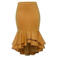 Women Plus Size Skirts Ruffled Trumpet Mermaid Skirts Yellow Fashion Ladies Office Elegant Big Size High Waist Bodycon Skirts