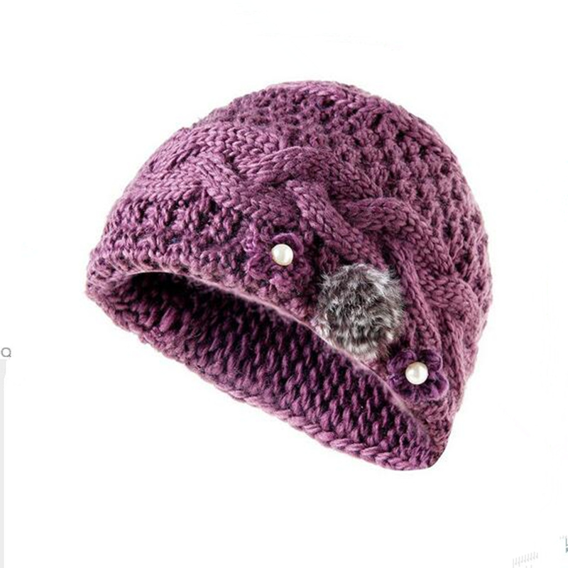 Winter Hat Knitted women Winter Cap 2016 mom Casual Solid Thick super Warm Plus Velvet Beanie Cap skullies beanies free shipping