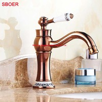 Light Shape Single Blue White Handle With Crystal Rose Gold Waterfall Faucet Bathroom Sink Vessel Basin Hot Cold Water Mixer Tap
