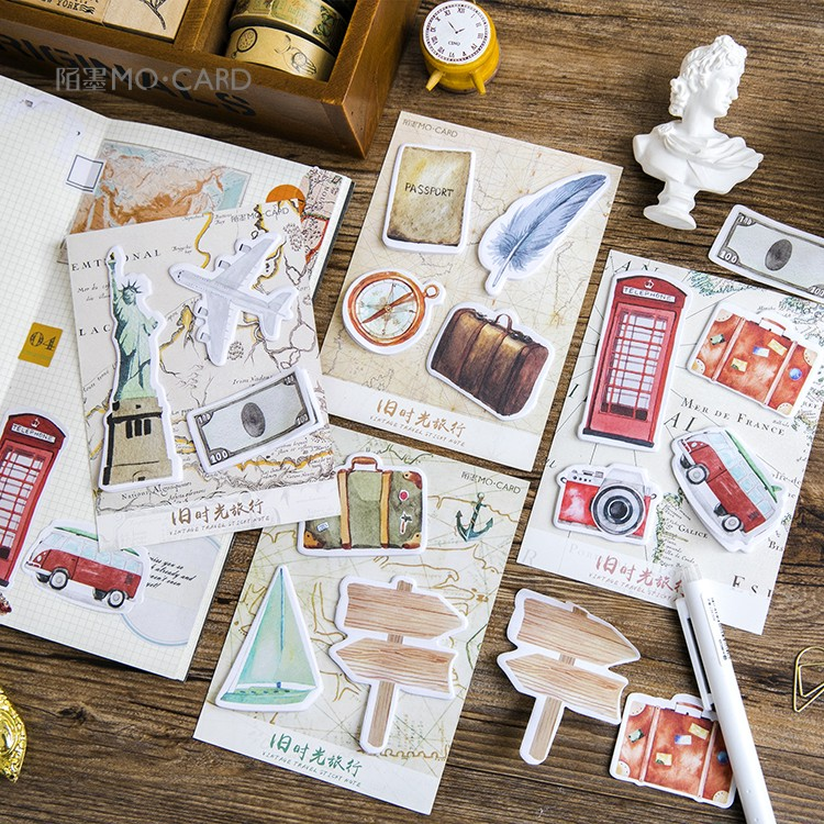 1 sets/1 lot Creative Old time travel Memo Pad Sticky Notes Escolar Papelaria School Supply Bookmark Label