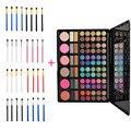 78 Colores brillo de Labios Colorete Corrector Paleta Sombra de ojos + 4 unids de Ojos Cosmético Del Cepillo Del Maquillaje Pinceles Herramientas de Belleza de Moda Portátil