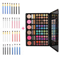 78 Colors Lip Gloss Blusher Concealer Eyeshadow Palette + 4 pcs Eye Brush Cosmetic Makeup Brushes Portable Fashion Beauty Tools
