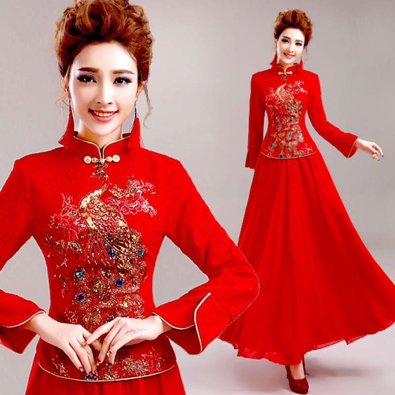 Red Long Sleeve Winter Bride Toast Cheongsam Dress Chinese