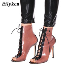 Eilyken Fashion PVC Transparent Boots Sandals Sexy Peep Toe Lace-Up Shoes Thin heels Women Boots 12CM size 41 42(China)
