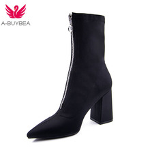 2018 New fashion Mid-Calf Stretch Fabric Sock Boots Women Pointed Toe High Heel Women Boots Brand Design Winter Boots Women new fashion thin heels woman boots sexy pointed toe stretch fabric mid calf boots 2017 high heel boots casual boots black