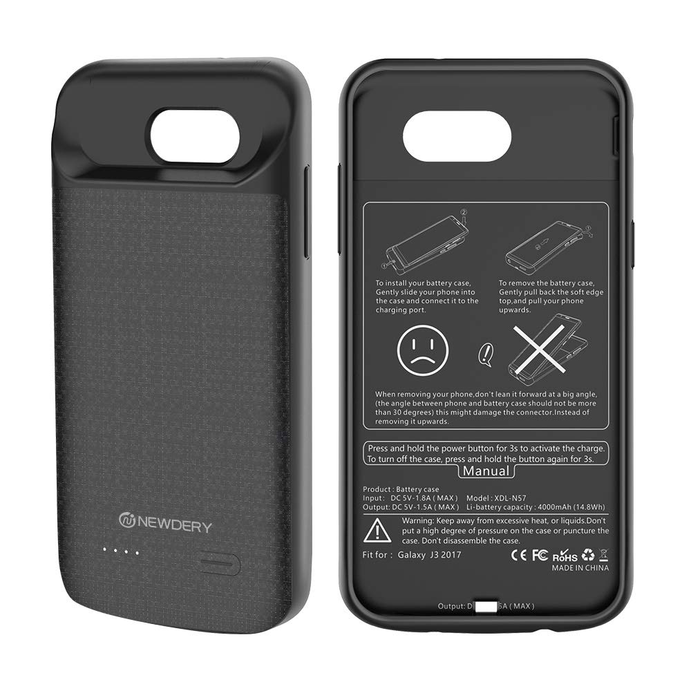 NEWDERY for Samsung Galaxy J3 2017 Battery Case, 4000mAh for Galaxy J3 Emerge Charger Case for 3 Prime power case