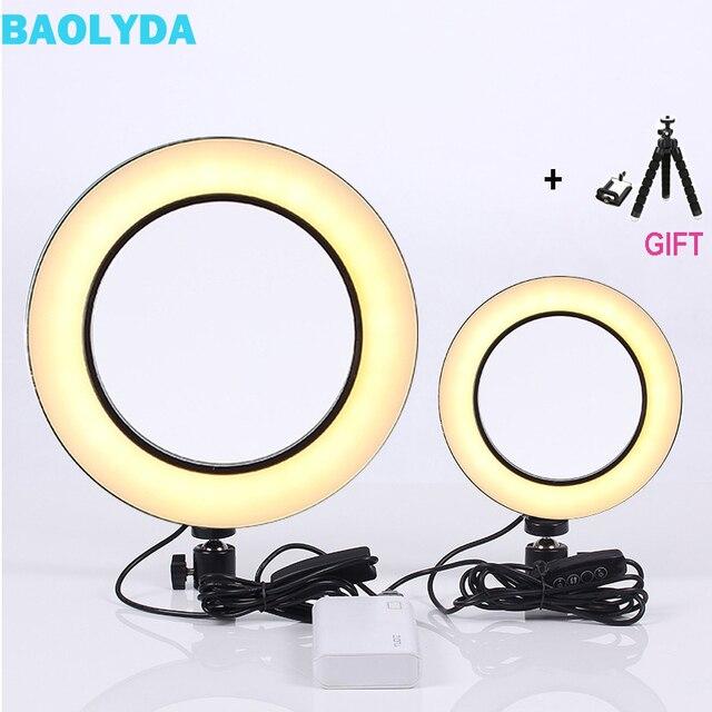Baolyda LED Ring Light Selfie 16/26 cm Anel de Luz de Estúdio de Maquiagem com Iluminação Regulável & Cabeça Berço para maquiagem Estúdio de Vídeo Ao Vivo