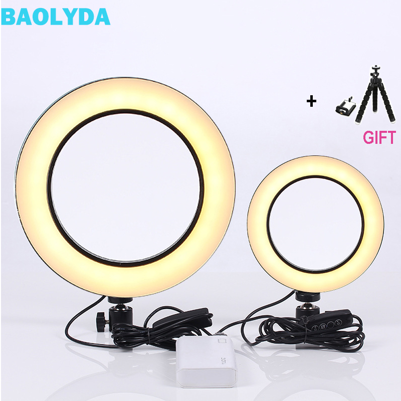 Baolyda LED Ring Light Selfie 16/26cm Studio Ring Light Makeup with Lighting Dimmable & Cradle Head for MakeUp Video Live Studio-in Photographic Lighting from Consumer Electronics