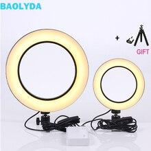 Baolyda LED טבעת אור Selfie 16/26 cm סטודיו טבעת אור איפור עם תאורה ניתן לעמעום & ערש ראש עבור איפור וידאו חי סטודיו