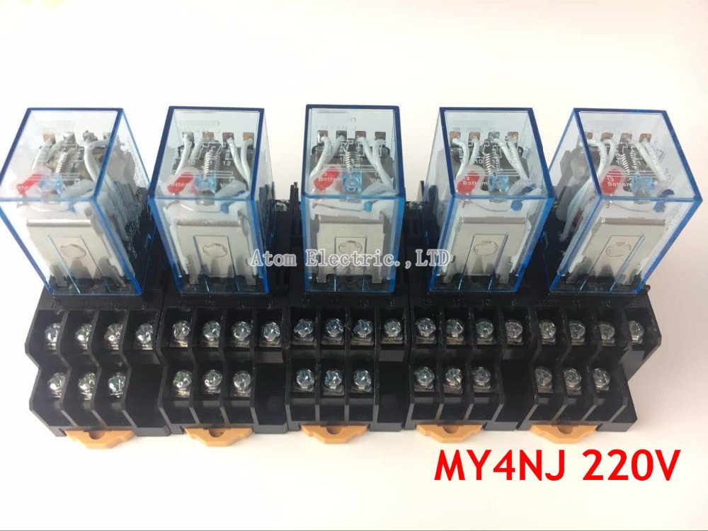 5PCS MY4NJ AC DC 220V Coil 5A 4NO 4NC Green LED Indicator Power Relay DIN Rail 14 Pin time relay with socket base hh52pl dc 220v coil 8 pins dpdt green led indicator light power relay 5 pcs free shipping