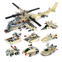 8in1 Helicopter Fighter Boat Tank war series Building Blocks Compatible Legoing City Submarine Toys For Children