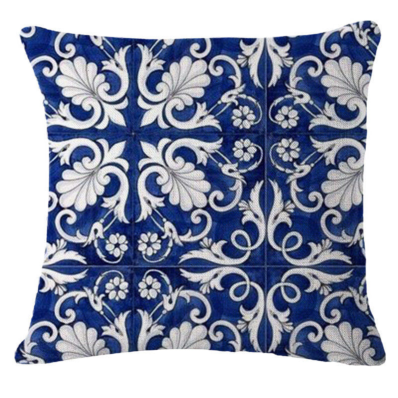 Vintage Blue Flower Pillow Case Throw Girl Pillow Covers Bird Cushion Cover for Home Car Decorations Pillowcase