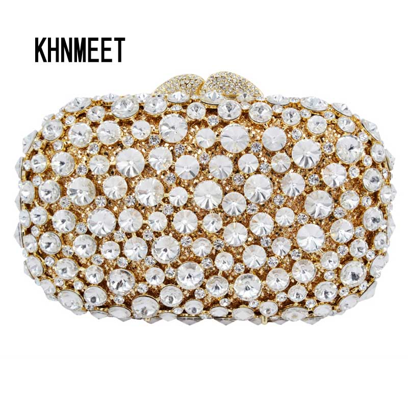 LaiSC Women Wedding Ceremony Clutch Bag Gold Crystal Banquet Purse Nuptial Evening Bag Bling Rhinestone Party pochette Bag SC289