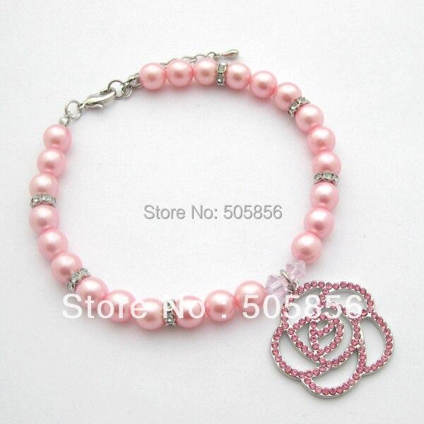 Dog Pet pearls necklace collar rhinestones rose charm,pet puppy jewelry/S M L
