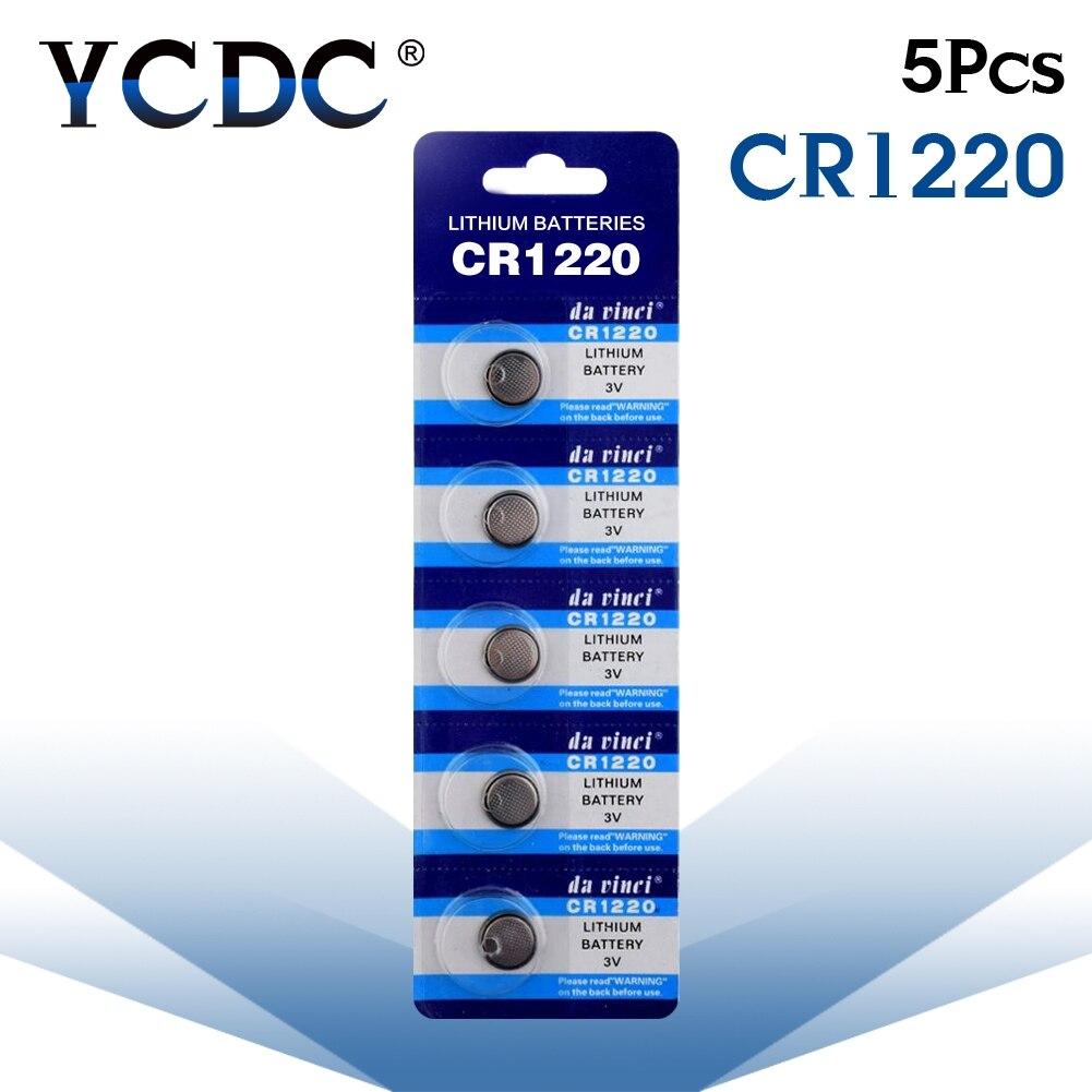 5 unidades/pacote cr1220 botão baterias dl1220 br1220 lm1220 pilha moeda bateria de lítio 3 v cr 1220 para assistir brinquedo eletrônico remoto