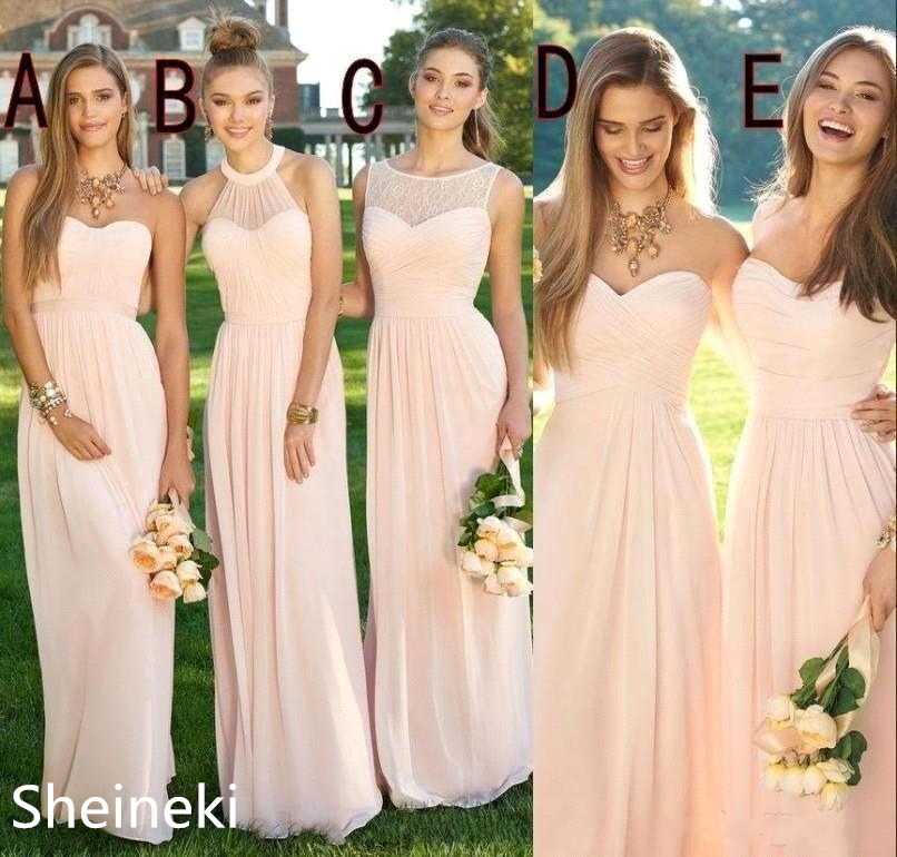 2019 Pink Navy Cheap Long Bridesmaid Dresses Mixed Neckline Flow Chiffon Summer Blush Bridesmaid Formal Prom Party Dresses