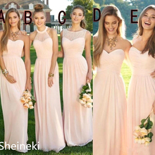 2019 Pink Navy Cheap Long Bridesmaid Dresses Mixed Neckline Flow Chiffon Summer Blush Bridesmaid Formal Prom