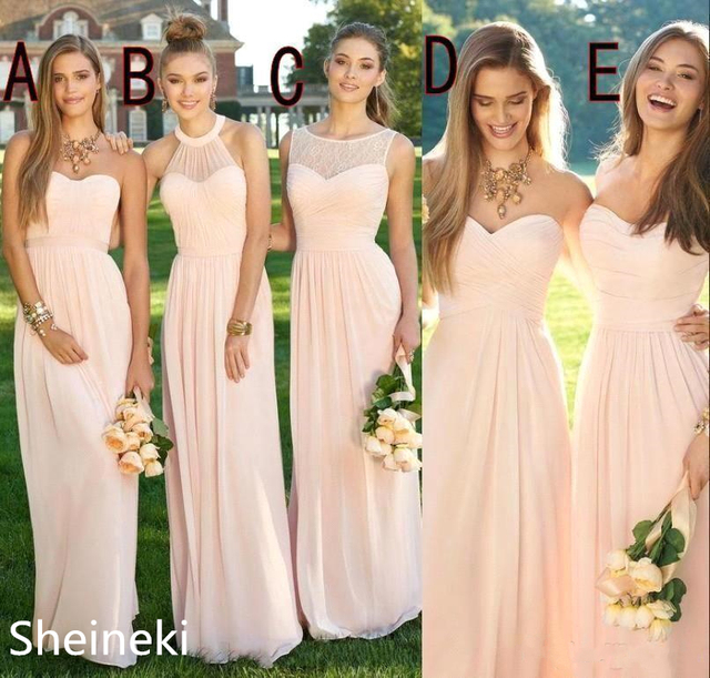 144f06ed1ff 2019 Pink Navy Cheap Long Bridesmaid Dresses Mixed Neckline Flow Chiffon  Summer Blush Bridesmaid Formal Prom Party Dresses