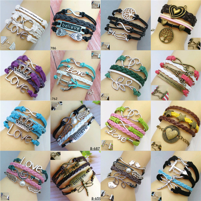 Girl Fashion Jewelry Vintage Love Crown Metal Leather Bracelet Multilayer Rope Bracelets Wrap Bracelets Wholesale Bangle #DQlyt
