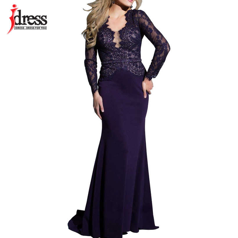 25f9cf74d4bfc IDress New Sexy Lace Vintage Mermaid Elegant Long Maxi Dress Formal Party  Women Gown Special Occasion Dresses 2018 Vestido Longo