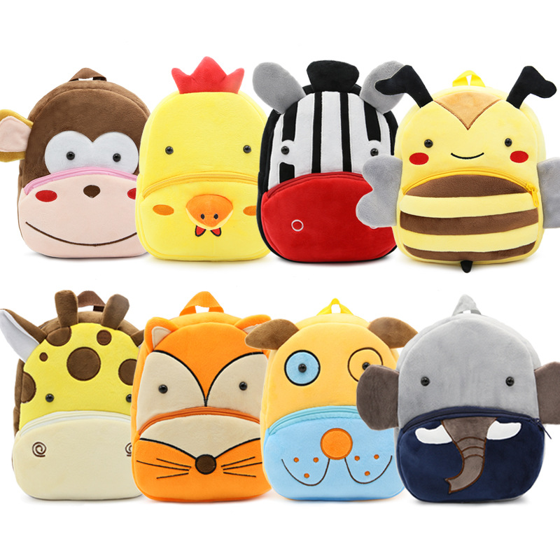 2017 Cartoon font b Kids b font Plush Backpacks Baby Mini Schoolbag Kindergarten Backpack Cute Children