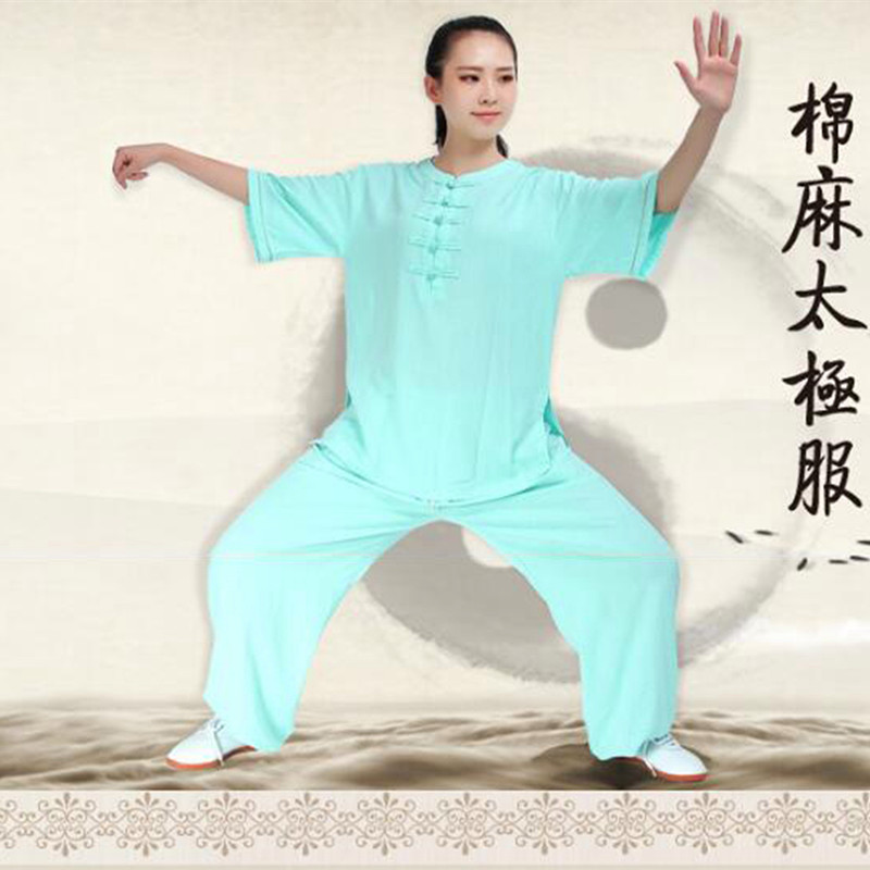 Woman Summer Cool Linen Half Sleeve China Clothes Kung Fu Suit Tai Chi Uniform Morning Exercise Shirt Pants