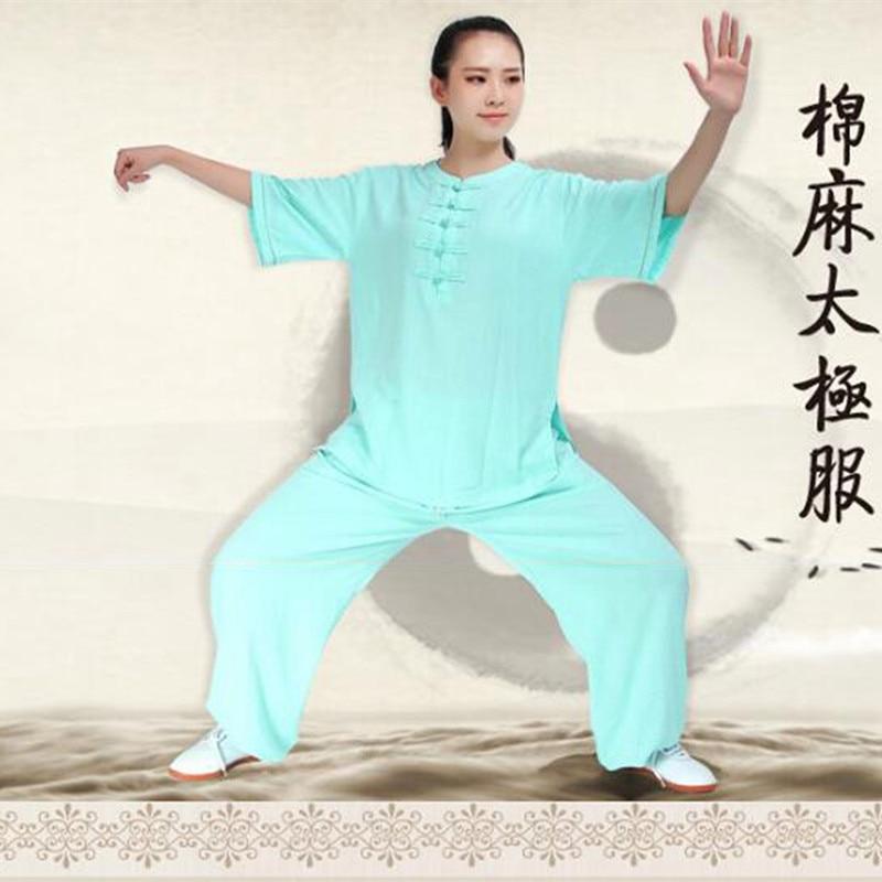 Woman Summer Cool Linen Half Sleeve China Clothes Kung Fu Suit Tai Chi Uniform Morning Exercise Shirt PantsWoman Summer Cool Linen Half Sleeve China Clothes Kung Fu Suit Tai Chi Uniform Morning Exercise Shirt Pants