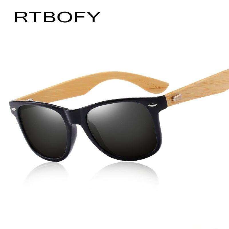 RTBOFY Wood Sunglasses for Women and Men Fashion Shades Brand Design PC Frame with Wood leg Eyewear UV400 Protection 1501