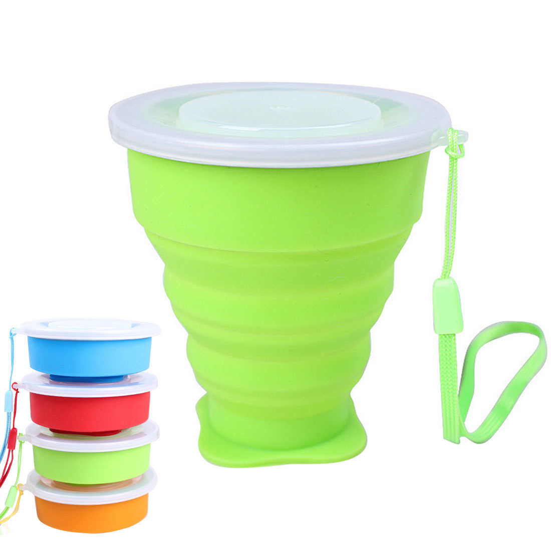 Portable Folding Cup Collapsible Mug Silicone Pop Up Cup Outdoor Travel Tool Kit Hiking Camping Equipment with Lid & Strap