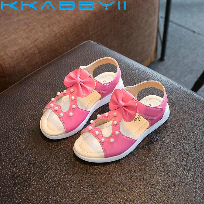 Girl Children Leather Sandal New Sandals Kids Summer Girls Shoes Bow&Dot Child Sandals White&Yellow&Pink&Red Shoes Girls