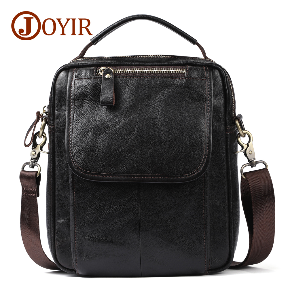 все цены на JOYIR Genuine Leather Men Bag Brand Designer Male Shoulder Crossbody bags Laptop Tote Men Briefcase Small Leather Messenger Bag