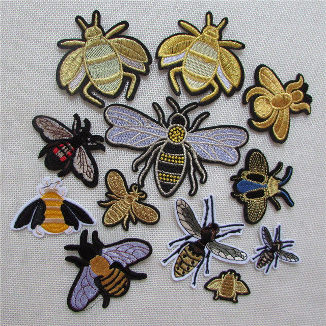high quality Sewing Clothes Patch Iron On Embroidery Patches Hotfix Applique Motifs Sew On Garment Stickers Crown Bee New