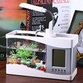 2016 Новый USB Мини Аквариум Настольный Электронный Аквариум Fish Tank с Проточной Водой СВЕТОДИОДНЫЕ Насос Свет Календарь Часы Белый и черный