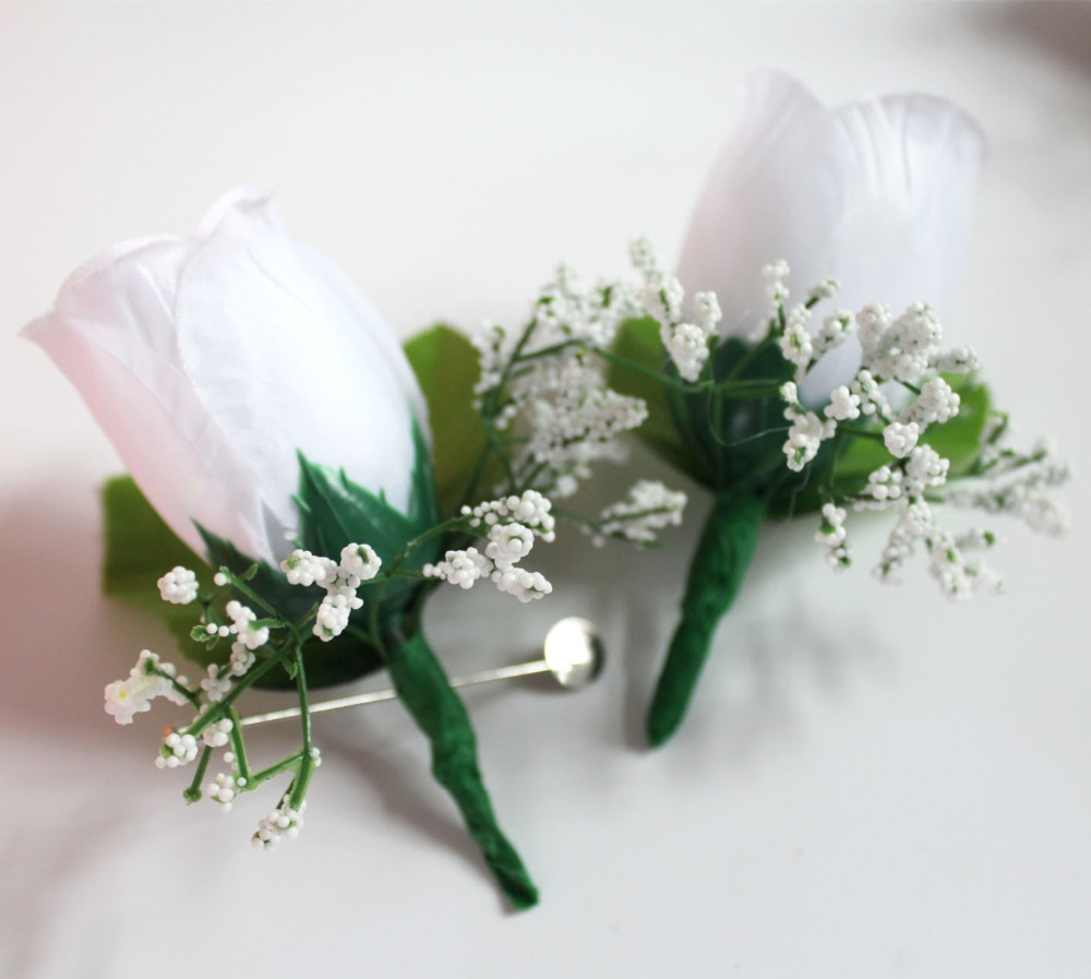 Rose Boutonniere wedding Corsag White Groom Best man Prom Party ...