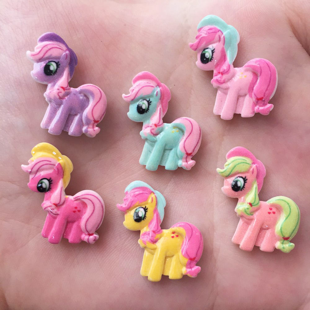 DIY 20pcs mix Resin hand-paint horse Flatback stone child scrapbook buttons crafts
