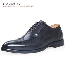 ELANROMAN High Grade men dress shoes Business Style Wedding Cow Leather Black Men Oxford Formal Shoes BR-L1224