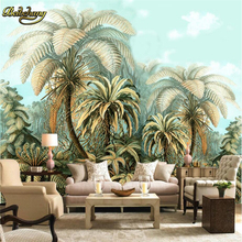 beibehang Tropical plants papel de parede 3d Wallpaper Painting Mural Living Room TV Sofa Backdrop Wall Paper Home Decor Murals nordic minimal elk flying birds forest custom wallpaper living room tv backdrop sofa wall bedroom murals papel de parede