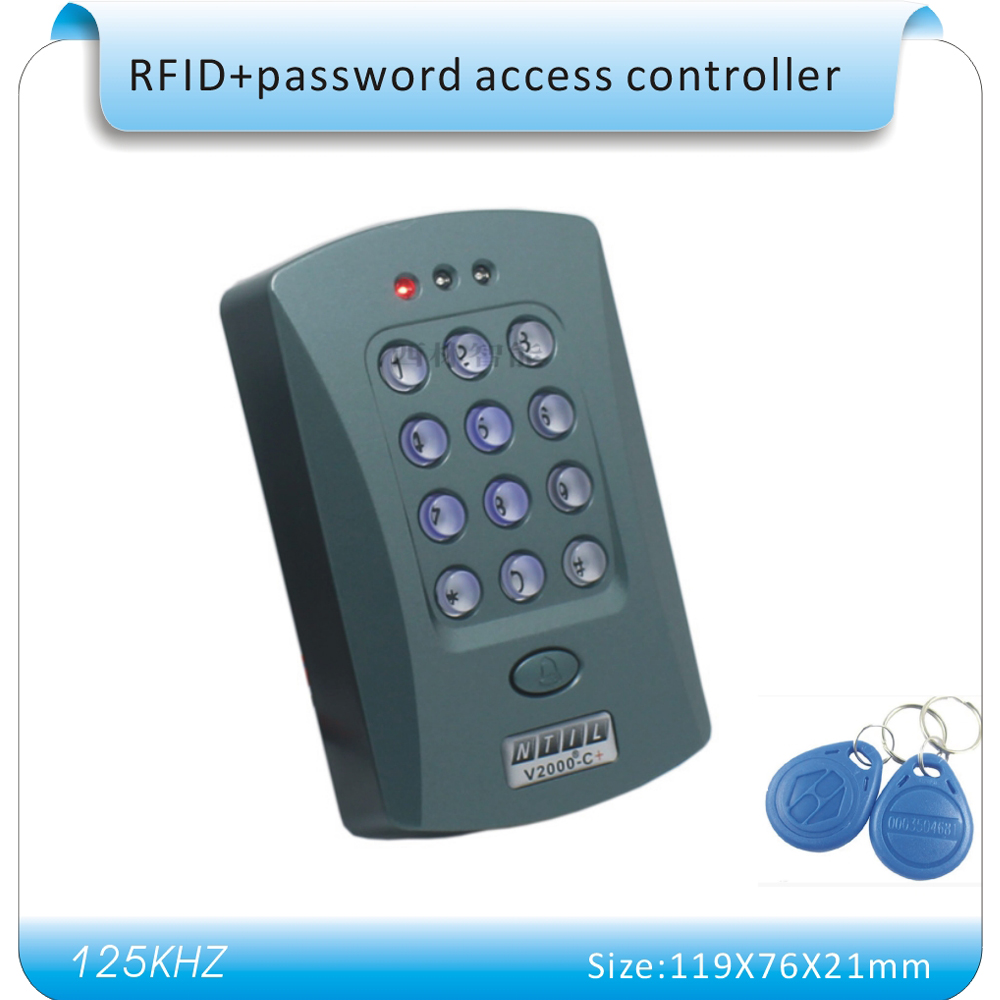 Free shipping  blue back light crystal keyboard password & 125KHZ RFID Entry Door Lock Access Control System + 10 KeyFob metal shell touch keyboard 125khz rfid access control system entrance guard password and rfid 10pcs crystal keyfob