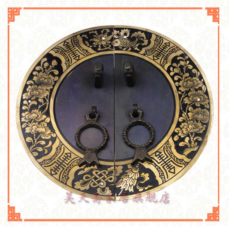 [Haotian vegetarian] Chinese antique Ming and Qing furniture copper fittings copper door copper handle 18CM black chinese antique furniture of ming and qing dynasties copper fittings copper door wardrobe door handle round copper shoe handle