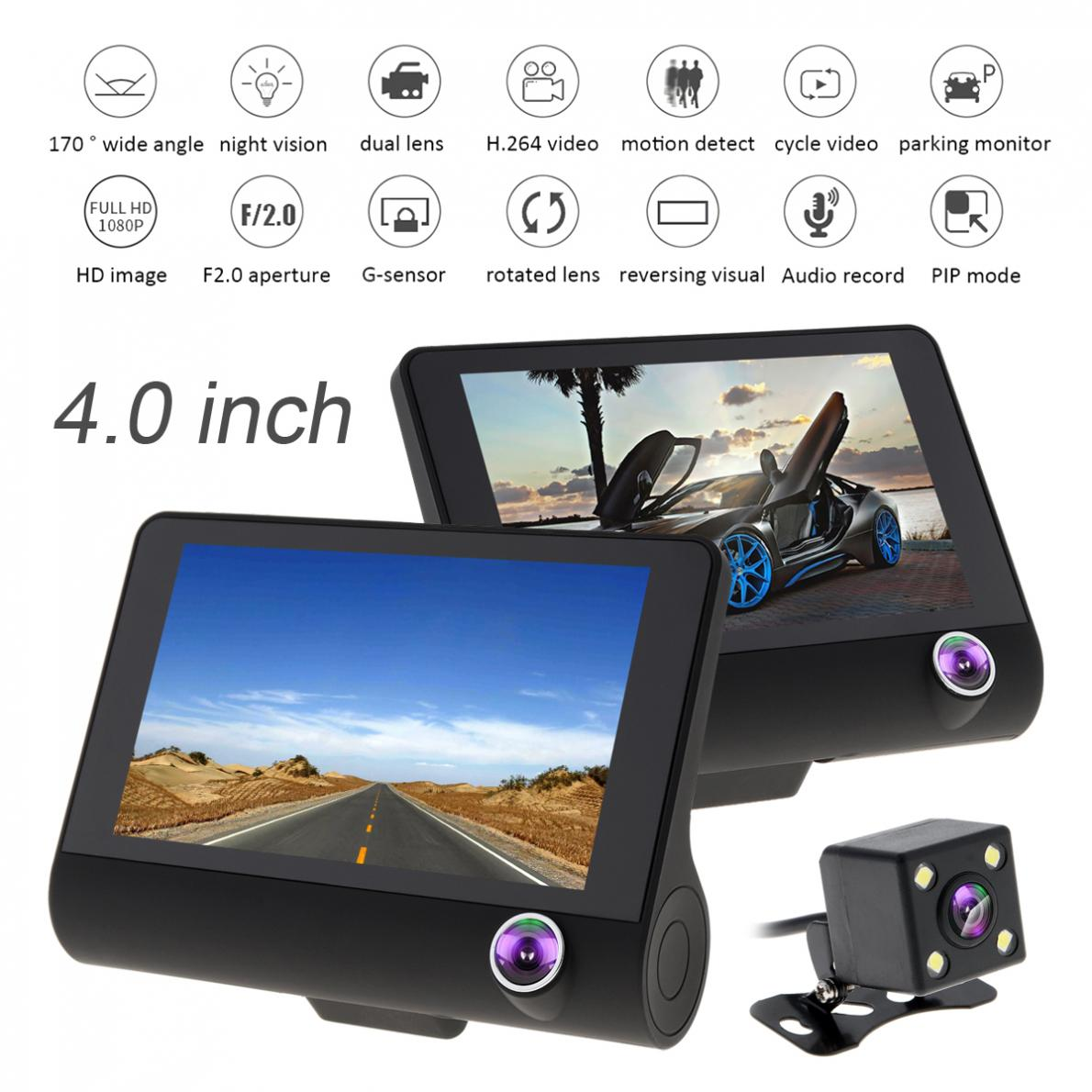 4.0 Inch IPS Screen Full HD 1080P 3-CH Car Recorder DVR Dash Camera G-Sensor Cyclic Recording with Night Vision Rear View Camera car mp5 player bluetooth hd 2 din 7 inch touch screen with gps navigation rear view camera auto fm radio autoradio ios