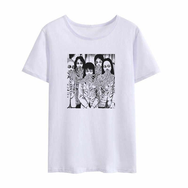 Yaz koyu Japon Harajuku moda rahat hip hop kısa kollu grafik t-shirt korku kadın eğlenceli yeni ulzzang T-shirt