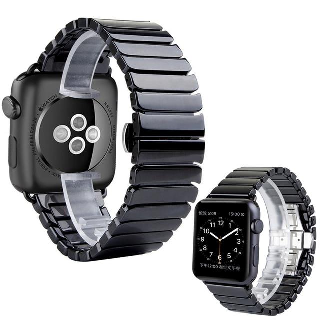 Ceramic Watch Band for Apple Watch 38/42mm Series 1 2 3 Link Bracelet Butterfly Buckle Black White Glossy Smart Watch Belt I83.
