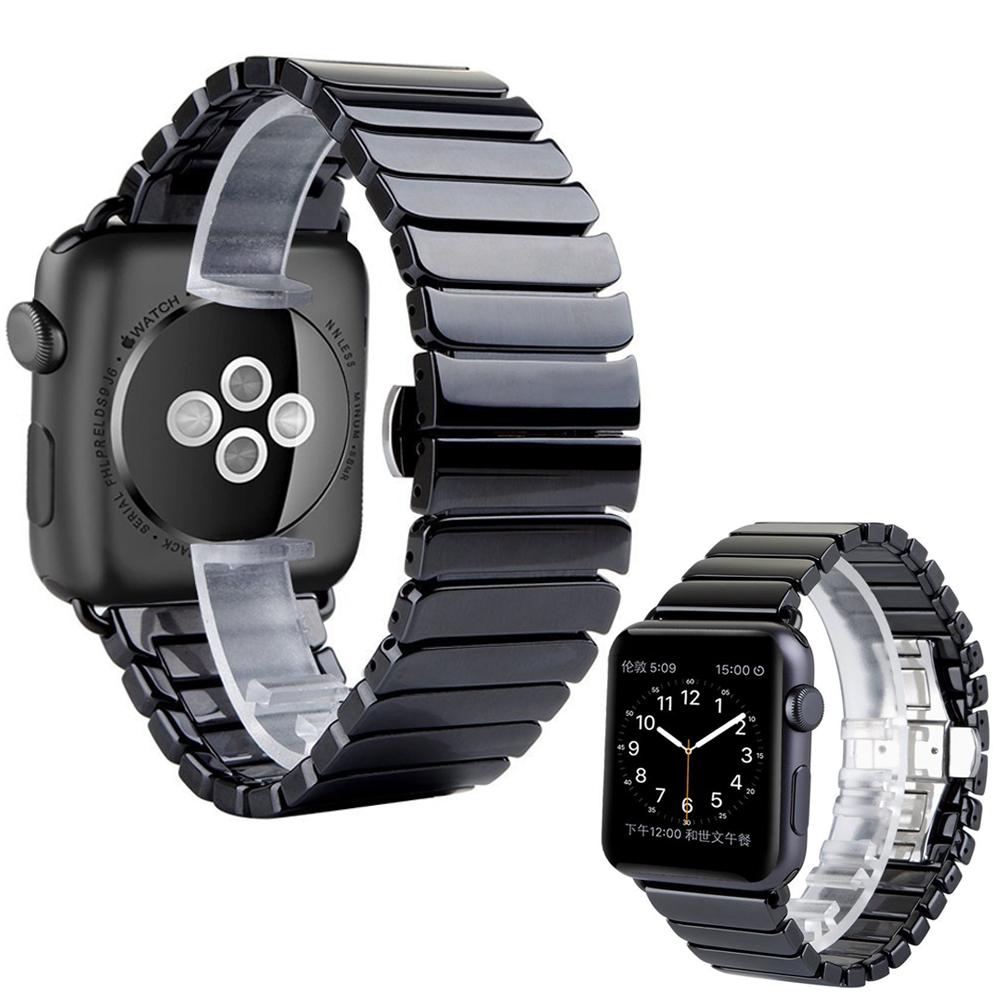 Prix pour Noir blanc brillant céramique montre de courroie de bande pour apple watch iwatch 38/42mm lien bracelet butterfly boucle i83.