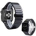 Preto cinta faixa de relógio de cerâmica branca brilhante para apple watch iwatch 38/42mm pulseira link butterfly fivela i83.