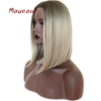 Ombre Blonde Short Straight Synthetic Hair Wig Heat Resistant Bob Wigs for Women Cut Wig