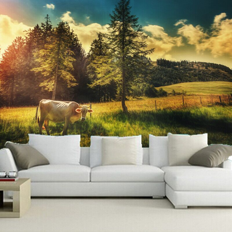 Custom papel DE parede infantil, Fields Cow Trees Animals Nature wallpapers for living room bedroom TV wall bedroom wallpaer custom 3d mountains sunrises and sunsets forest trees rays of light nature papel de parede living room tv wall bedroom wallpaper