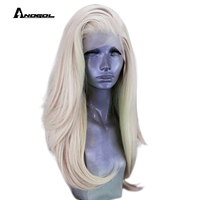 Anogol Platinum Blonde Long Natural Wave Free Part High Temperature Fiber 360 Frontal Synthetic Lace Front Full Hair Wigs Women