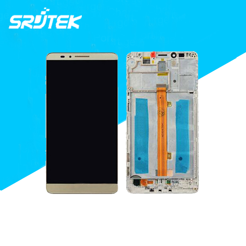 ФОТО Gold Color Original LCD Display+Touch Screen Digitizer+Frame Full Assembly For Huawei Ascend Mate7 mate 7 Replacement
