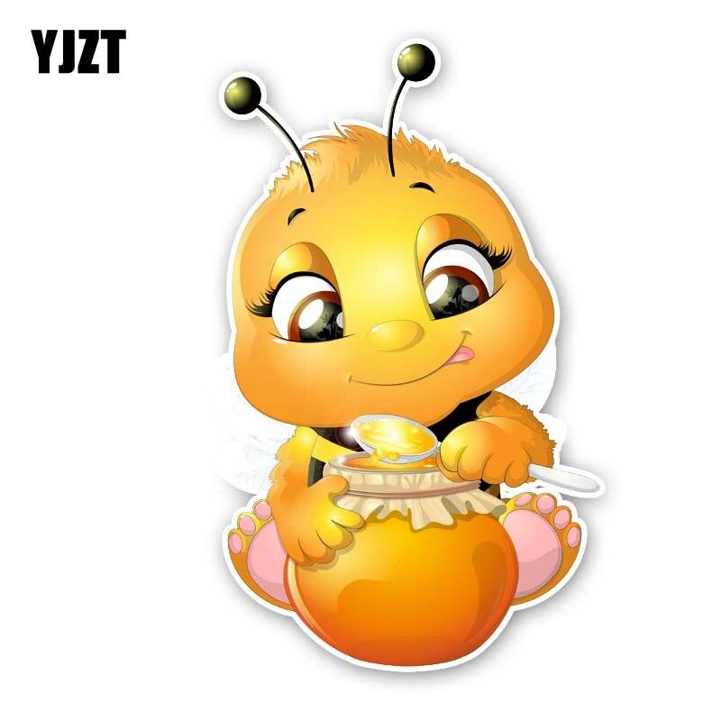 YJZT 9.4CM*14.8CM Bees That Eat Honey Sticker Car PVC Decal Modelling 12-300567